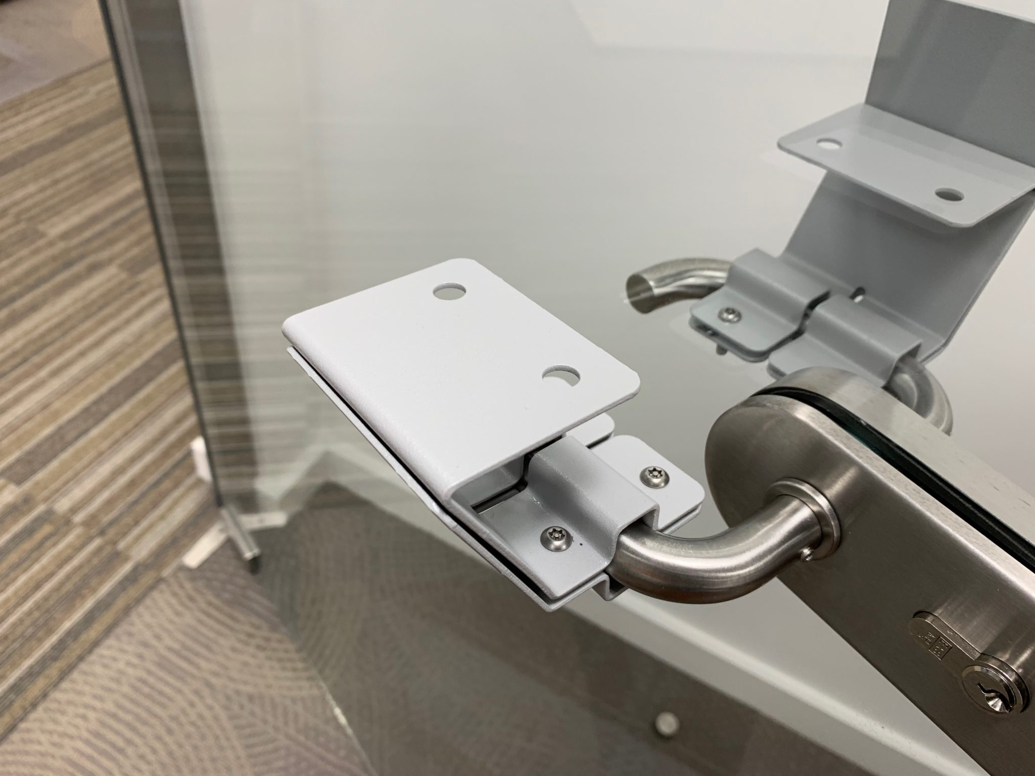 Hands-free door handles, designed and manufactured by us.